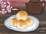 Egg Yolk Shortcakes and Tea 蛋黃酥配茶 © 2018, KeQiaoEnAll Rights Reserved